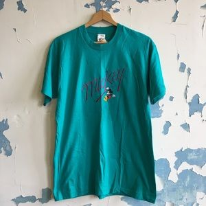Vintage | Deadstock Teal 80's Mickey Mouse T-Shirt